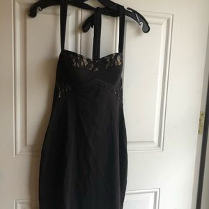 Moda International Corset Padded Black Lace Dress
